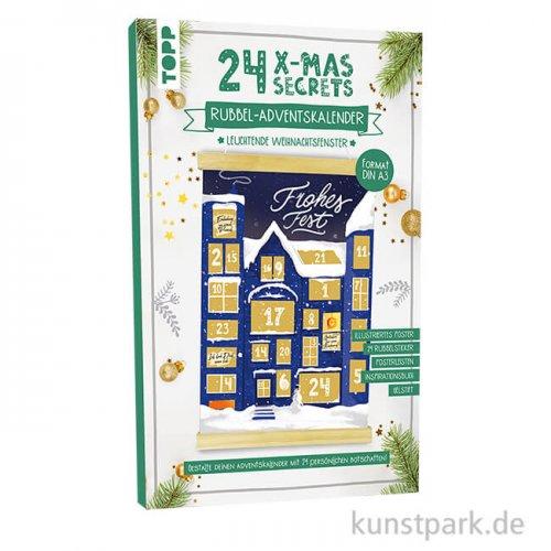 24 X-MAS SECRETS - Rubbel-Adventskalender, Fenster, Topp Verlag