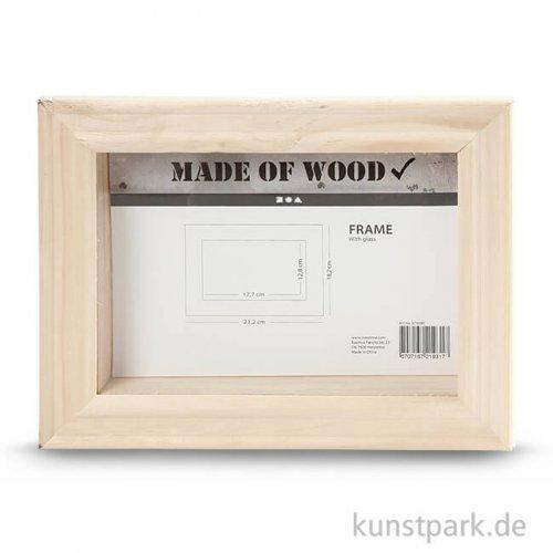 3D Bilderrahmen aus Holz mit Glas, 18,2x23,2x2,5 cm