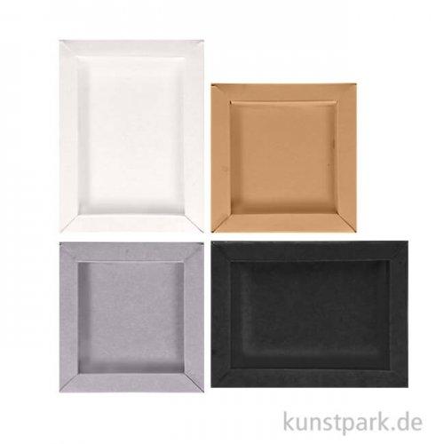 3D Bilderrahmen aus Pappe - Basic, 8 Stück in 2 Größen, 4 Farben