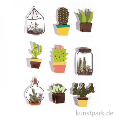 3D Papier Sticker - Cactus, 9 Stück sortiert