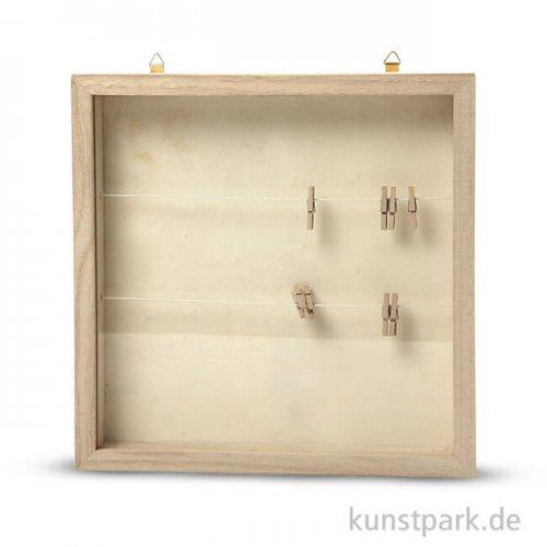 3D-Rahmen aus Holz mit Schiebedeckel aus Plexiglas, Größe 23x23 cm