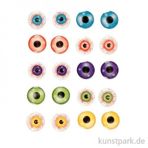 3D-Sticker - Augen, selbstklebend, 20 mm, 10 Paar sortiert
