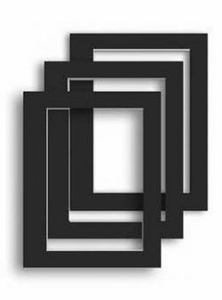 Fertigpassepartout Schwarz, Stück außen 30 x 40 cm - innen 20 x 30 cm