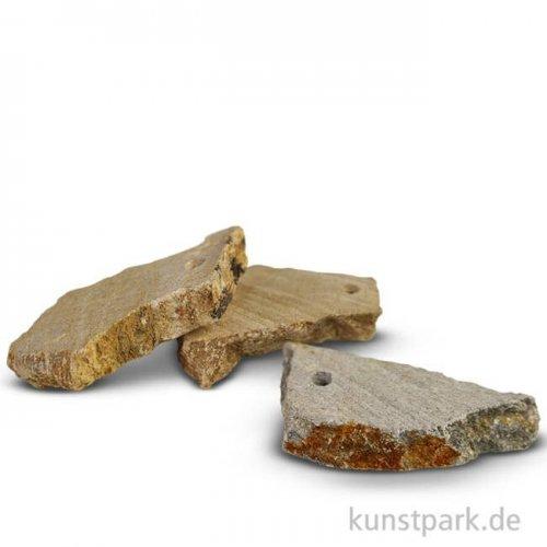 Speckstein Amulett mit Loch, 3-er Set