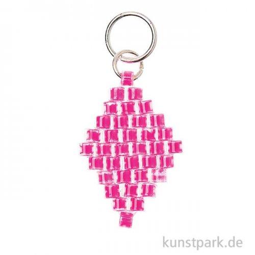 Anhänger Brick-Stitch - Raute, Neon-Pink
