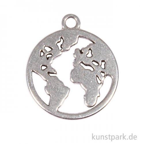 Anhänger Metall - silberne Weltkarte, 2 Stück