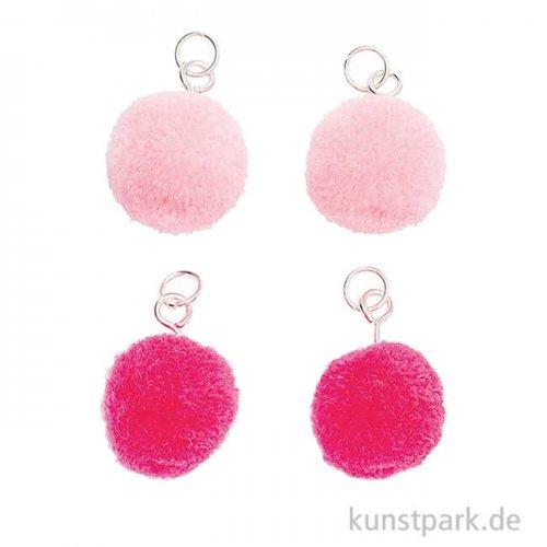 Anhänger Mini Pompons - Neon Pink, 4er Set