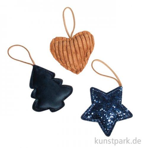 Anhänger Mitternachtsblau - Baum, Herz, Stern, 7 cm, 3 Stück