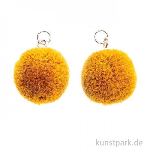 Anhänger Pompons - Gelb, 2er Set