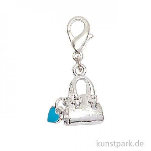 Anhänger Tasche mit Herz - Silber, Blau