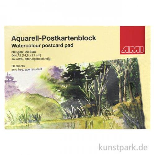 Aquarell-Postkartenblock 300 g/m², 20 Blatt