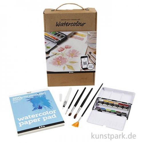 Aquarellmalerei Lernset mit Farben, Papier und Pinsel