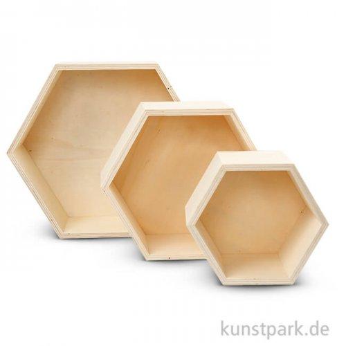 Aufbewahrungsboxen Sperrholz - 3 Waben