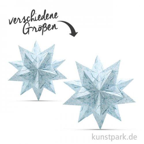 Bascetta-Stern Bastelset - Weiß-Winterornament Eisblau, 90g