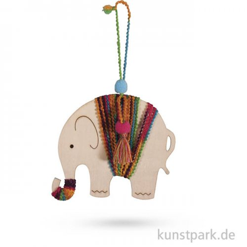 Bastelpackung - Holzhänger Elefant, 11,9x15 cm