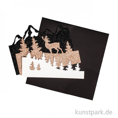 Bastelpackung Papierrahmen Winterland, 20x20x4,5 cm