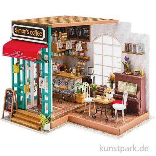 Bastelset Miniatur-Zimmer - Simon's Café, mit umfangreichem Zubehör
