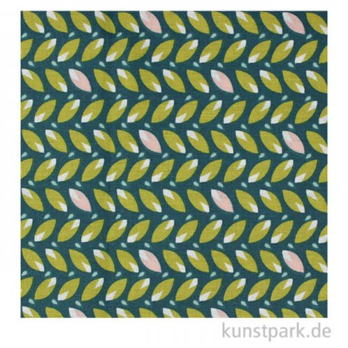 Baumwollstoff - Blätter Grün - 1 m x 1,5 m