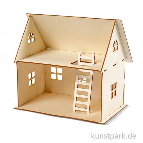 Bausatz Puppenhaus aus hellem Holz, Größe 18x27 cm
