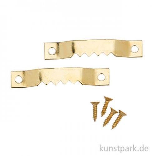 Bilderrahmen Aufhänger 2 Stück mit 4 Schrauben 40mm gold