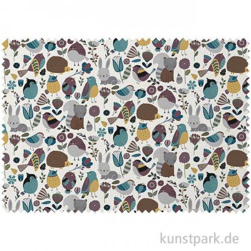 Baumwollstoff - Waldtiere - 1 m x 1,6 m