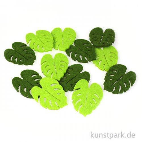 Blätter aus Filz - Grünmix, 12 Stück 5 x 3,2 x 0,3 cm