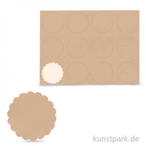 Blanko-Sticker - Kraft, rund, 3,5 cm