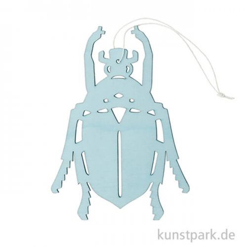 Blauer Aaskäfer aus Holz mit Hänger, Länge 15 cm