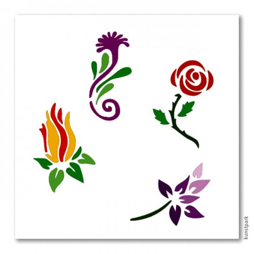 Bodypainting-Schablonen Set Flowers
