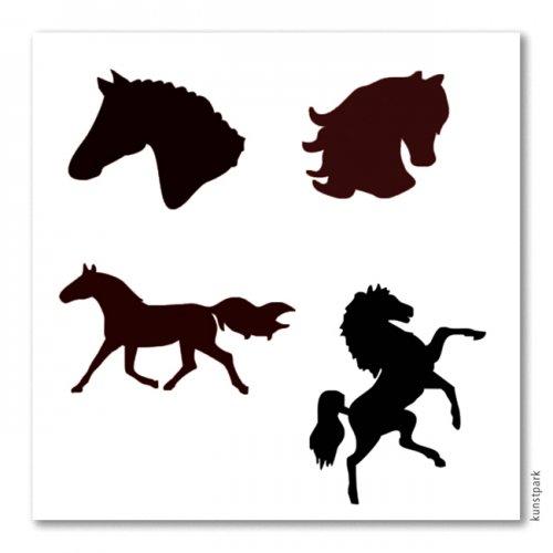 Bodypainting-Schablonen Set Pferde