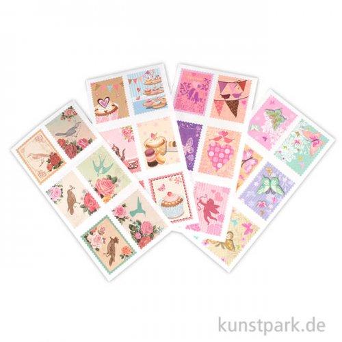 Briefmarken-Sticker - Romantik, 72 Stück