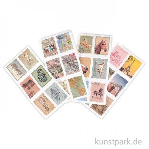 Briefmarken-Sticker - Vintage, 72 Stück