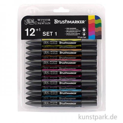 Brush Marker - Winsor & Newton 12er Set, Lebendige Töne
