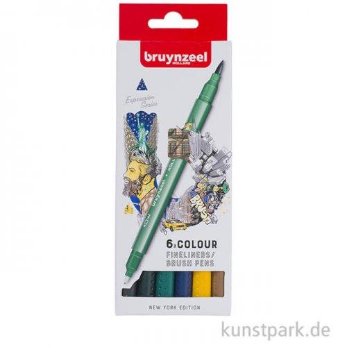 Bruynzeel Fineliner Brush Pen Set New York mit 6 Stiften