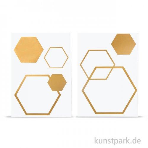 Bügel-Transferfolie Wabe - Gold, 2 Bogen