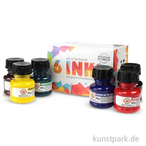 Buntes Tusche-Set mit 6 Farben
