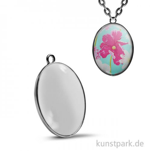 Cabochon Anhänger Oval - 27x19 mm - Silber