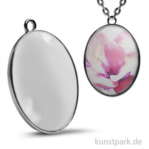 Cabochon Anhänger Oval - 42x33 mm - Silber