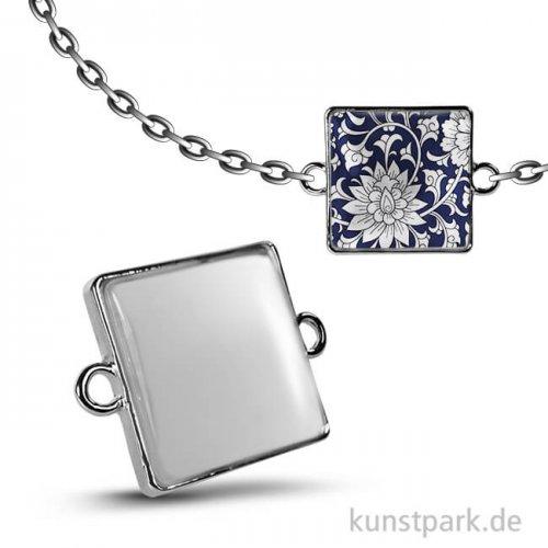 Cabochon Doppel-Ösenhänger Quadrat - 20x20 mm - Silber