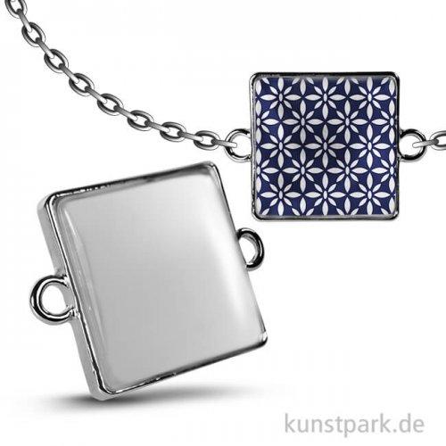 Cabochon Doppel-Ösenhänger Quadrat - 27x27 mm - Silber