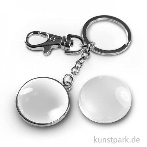 Cabochon Schlüsselanhänger doppelseitig - dm 32mm - Silber