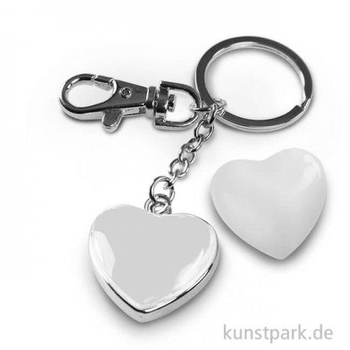 Cabochon Schlüsselanhänger Herz doppelseitig - 32x32 mm - Silber