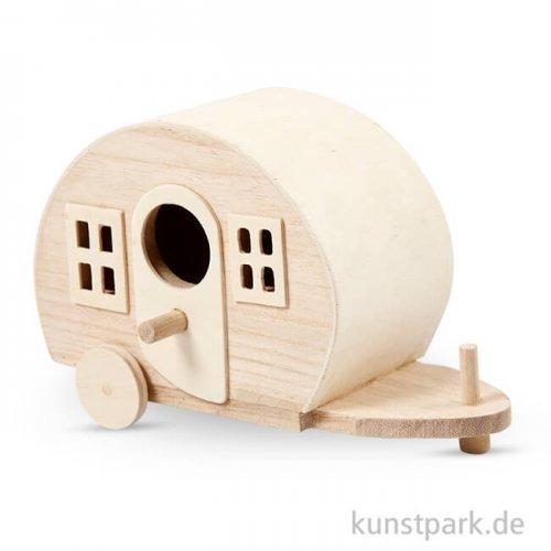 Campingwagen aus Holz, 18x8x11 cm