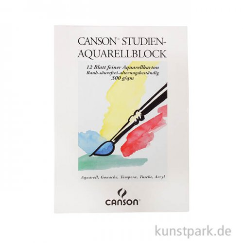 Canson Studien Aquarellblock, 12 Blatt, 300g rau 18 x 25 cm