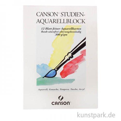 Canson Studien Aquarellblock, 12 Blatt, 300g rau 29,7 x 42 cm