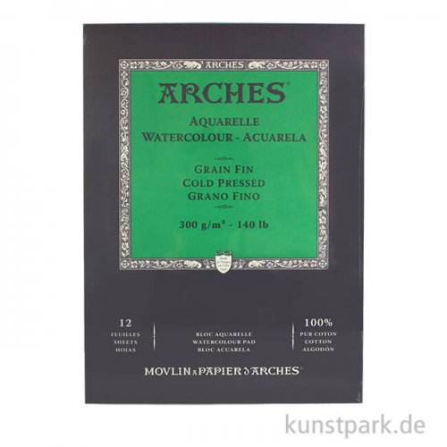 ARCHES Aquarellpapier fein, 12 Blatt, 300g