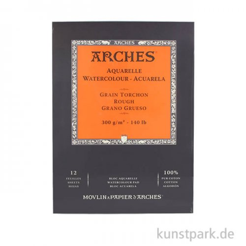 ARCHES Aquarellpapier rau, 12 Blatt, 300g 23 x 31 cm