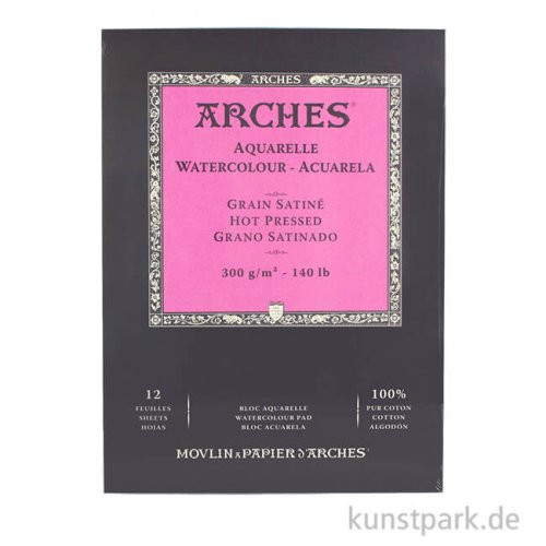 ARCHES Aquarellpapier satiniert, 12 Blatt, 300g