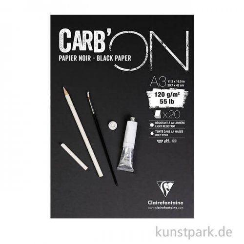 Clairefontaine Carb'ON Zeichenblock - Schwarz, 120 g, 20 Blatt DIN A3