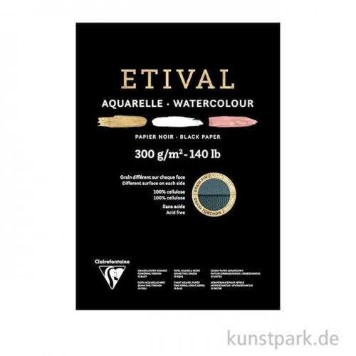 Clairefontaine ETIVAL Aquarellblock - Schwarz, 300 g, 15 Blatt DIN A4